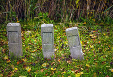 Three stone columns which are sticking out of a green grass Royalty Free Stock Images
