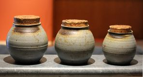 Three stone pots Royalty Free Stock Photos