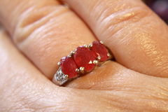 Ring. Three stone silver ruby ring Royalty Free Stock Photography