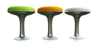 Three Stools. Three 3D high stools green, orange and white placed on a reflective white background Royalty Free Stock Image