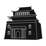 The three-storey building in Mongolia.Mongolian national Shrine of Mitarai.Mongolia single icon in black style vector. Symbol stock web illustration Stock Images
