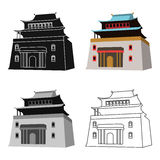 The three-storey building in Mongolia.Mongolian national Shrine of Mitarai.Mongolia single icon in cartoon style vector Royalty Free Stock Image