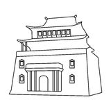 The three-storey building in Mongolia.Mongolian national Shrine of Mitarai.Mongolia single icon in outline style vector. Symbol stock web illustration Royalty Free Stock Photos