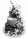Three-storey cake in black white Royalty Free Stock Image