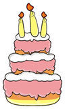 Three storey cake with candles Royalty Free Stock Photo
