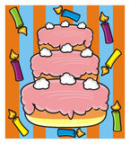 Three storey cake with candles Stock Photos