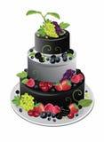 Three-storey fruit cake. Color illustration stock illustration
