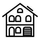 Three storey house with garage line icon. Home exterior vector illustration isolated on white. Architecture outline. Style design, designed for web and app. Eps vector illustration