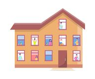Three Storey House People Windows Vector Building. Three-storeyed house people in windows vector brick building, inhabited cottage with neighbours. Men and women Stock Illustration