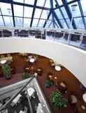 Three storey restaurant. Interior of a modern hotel, luxurious three storey restaurant royalty free stock photo