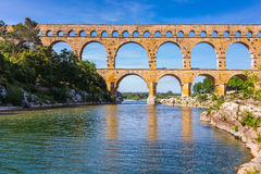 Three-storied aqueduct of Pont du Gard in Europe Royalty Free Stock Photo
