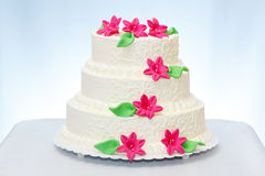 Three-storied wedding cake Stock Images