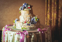 Three-storied wedding cake Stock Photo