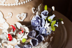 Three-storied wedding cake Royalty Free Stock Photo