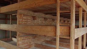Three Story Bunks In Barrack