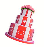 Three-story cake. On a white background Stock Photos