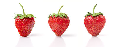 Three Strawberries. Isolated on White Background Stock Image