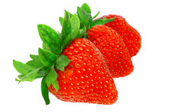 Three  strawberries. Stock Images