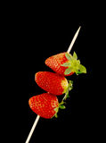Three strawberries. In a stick with black background stock photography