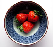 Three strawberries in a blue bowl Stock Image