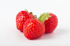 Three Strawberries Grouped Royalty Free Stock Images