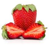 Three strawberries isolate Stock Photo