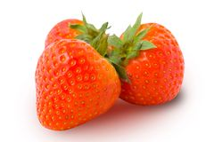 Three strawberries isolated Royalty Free Stock Images