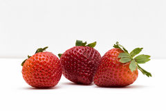 Three Strawberries. Three red and delicious fruit Stock Photos