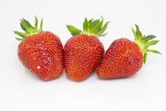 Three strawberries Stock Images