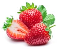 Free Three Strawberries With Strawberry Leaf On White Background. Stock Image - 114284301