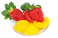 Three strawberry with ananas Royalty Free Stock Photography