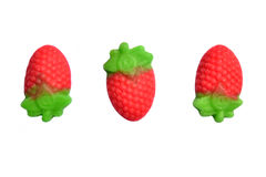 Three strawberry candies. On a white background Stock Images