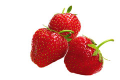 Three strawberry isolated on a white. Background Stock Photo