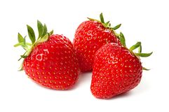Three strawberry isolated on a white Royalty Free Stock Photography