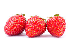 Three strawberry on white Stock Image