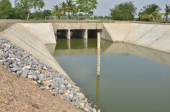 Three stream ways of new culvert. In the field Stock Photography