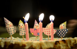 Lit Birthday Cake Candles Royalty Free Stock Photography