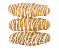 Three striped eclairs isolated on white Stock Photography