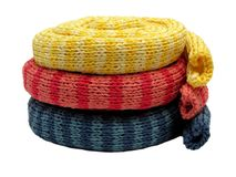 Three striped knitting scarfs Stock Images