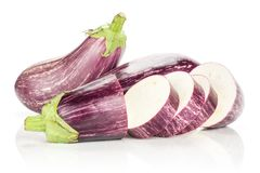 Fresh Raw purple striped Eggplant isolated on white. Three striped purple eggplants stack one sliced isolated on white background Royalty Free Stock Image