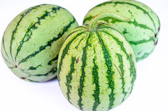 Three Striped Watermelon. Watermelon in the white background Royalty Free Stock Photo