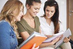 Three student girls Royalty Free Stock Images