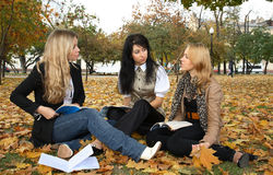 Three students Stock Photo