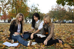 Three students Stock Image