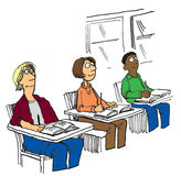 Three Students. Education illustration showing three smiling, diverse teen students sitting in class Stock Photos