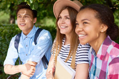 Three Students in Park royalty free stock image