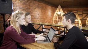 Three students are preparing for the presentation in the cafe. People are sitting at the wooden table. Blond woman is typing the ideas on the brand-new stock video footage
