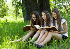 Three students reading books  outdoor Royalty Free Stock Photos