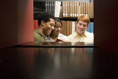 Three students reading in the library Stock Images