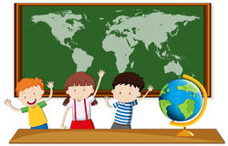 Three students study geography in class. Illustration royalty free illustration